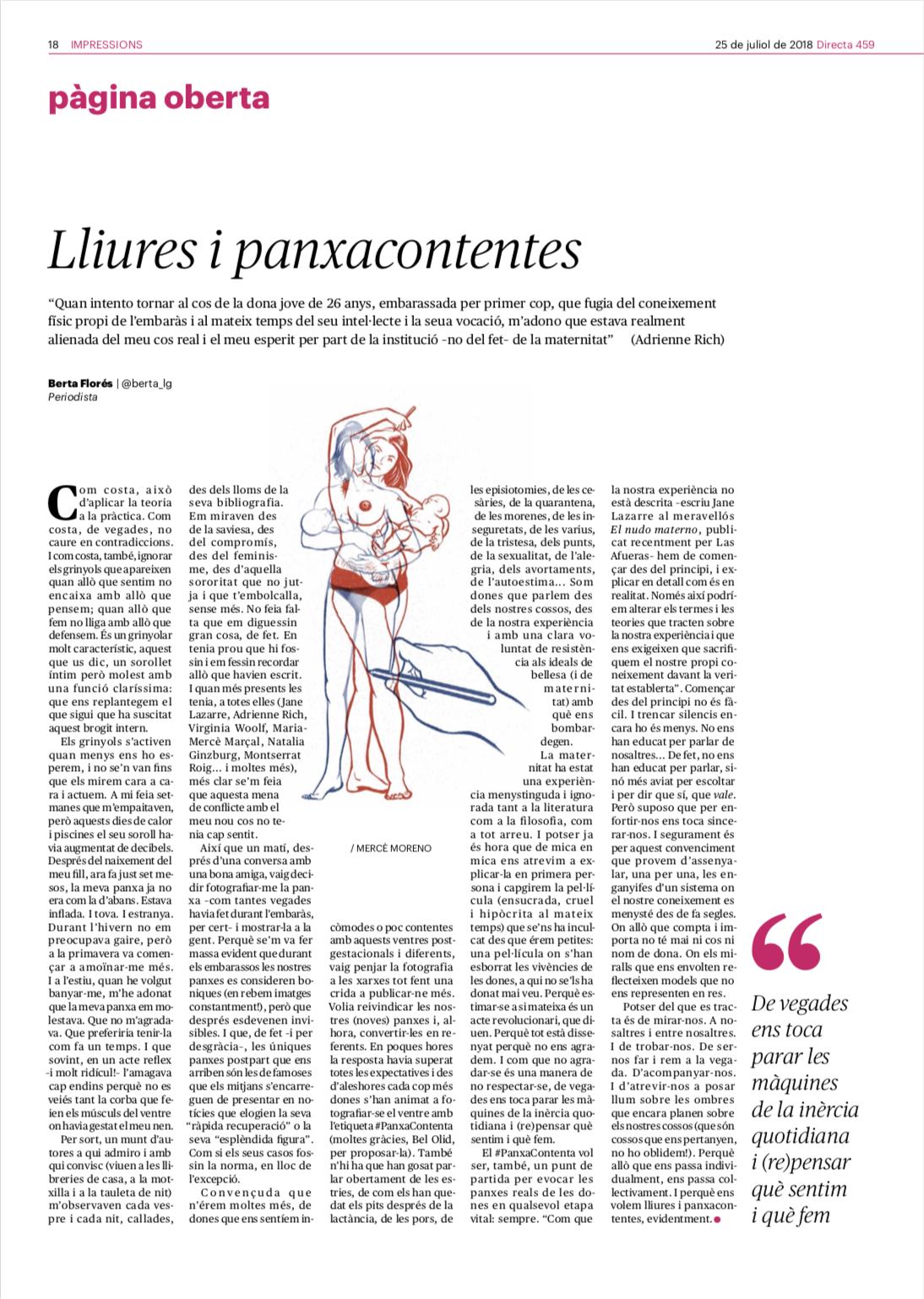 """Article de la Berta Florés, """"Lliures i panxacontentes"""", amb il·lustració meva digital"""