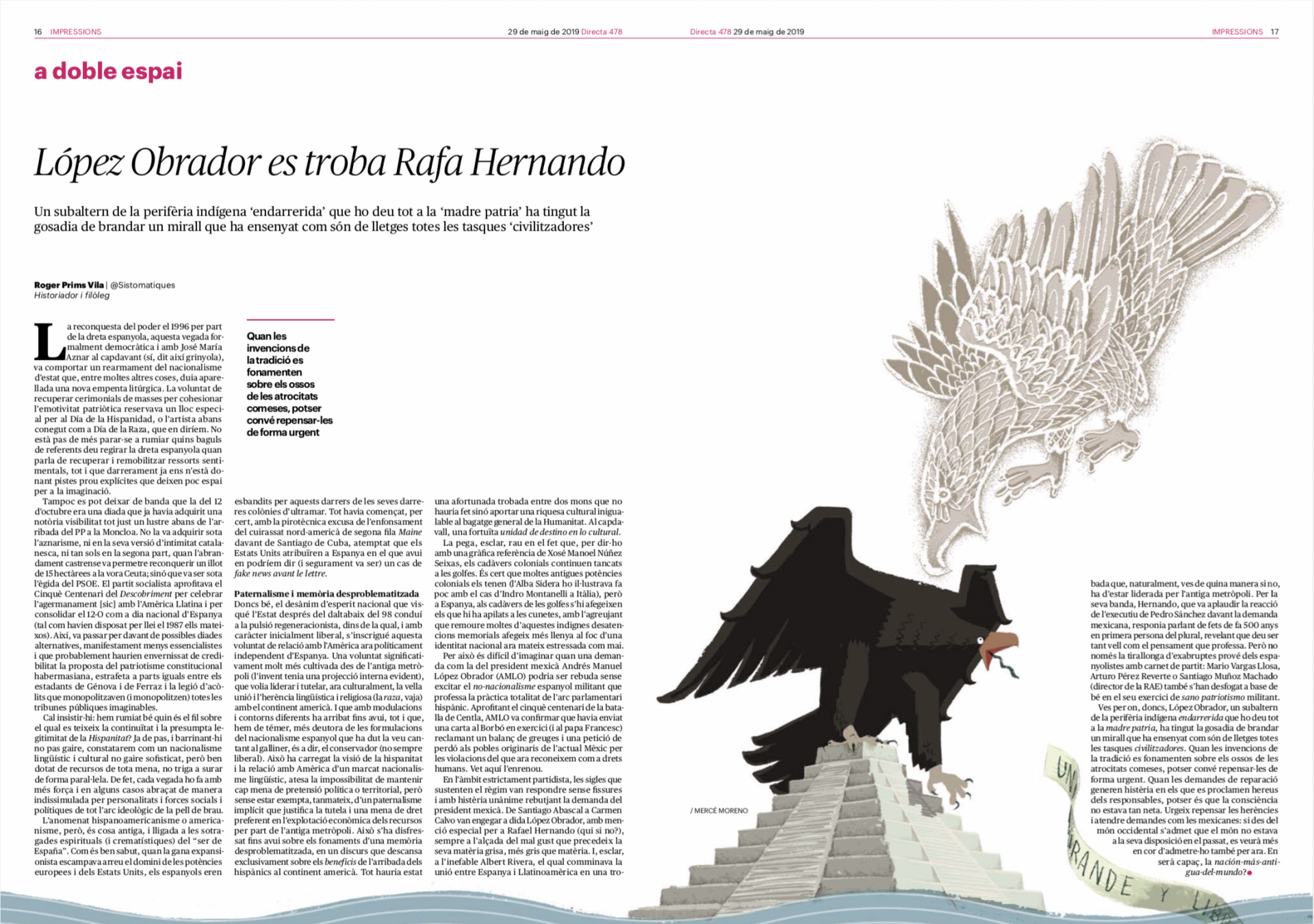 """Il·lustració de l'article """"López Obrador es troba Rafa Hernando"""" a La Directa 478"""