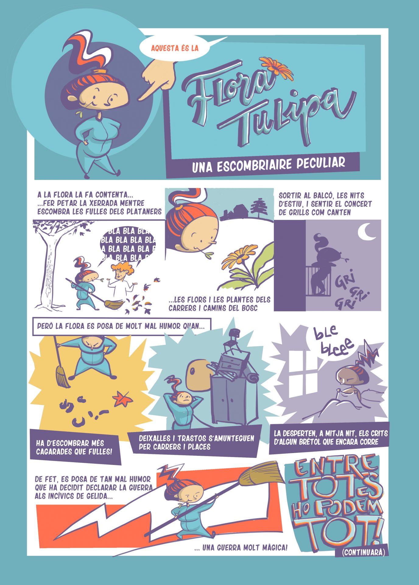 Còmic de presentació de la personatge Flora Tulipa