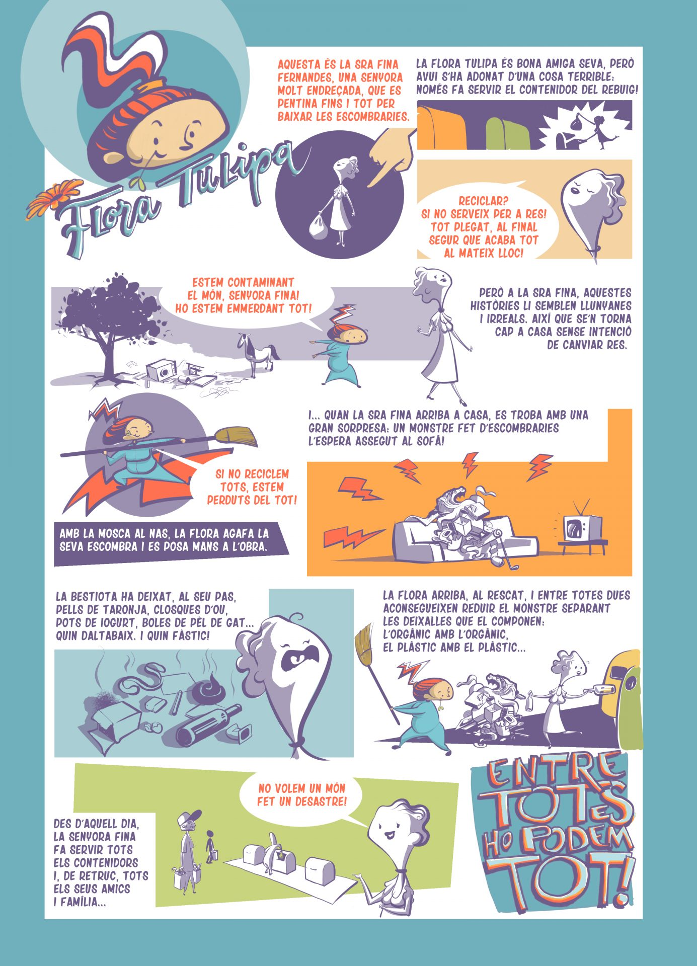 Còmic sobre la mala gestió separant les diferents fraccions de residus