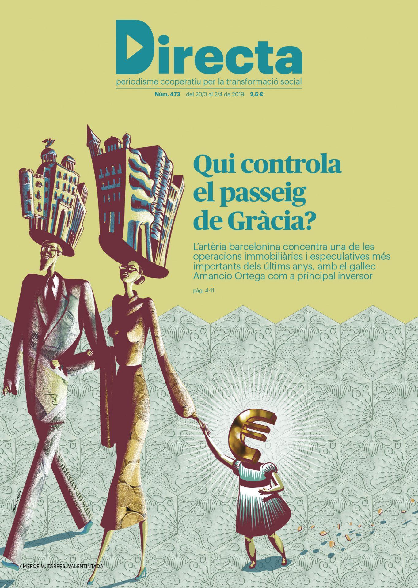 """Il.lustració per a la portada de la Directa 473, que inclou un reportatge """"A Fons"""" sobre el Passeig de Gràcia"""