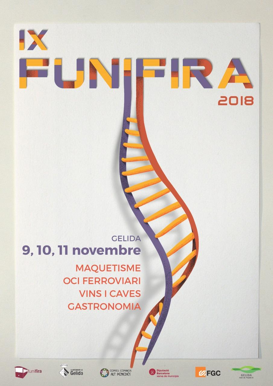 Cartell de l'edició 2018 de la Fira de maquetisme, oci ferroviari, vins i caves i gastronomia de Gelida, la Funifira