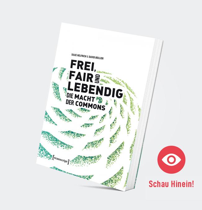 """Mockup de l'edició alemanya del llibre de David Bollier i Silke Helfrich, """"Free, fair & alive. The insurgent power of the commons"""""""