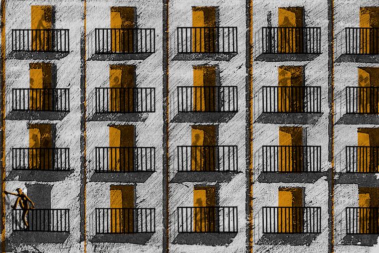 """Il·lustració de tècnica mixta per a la secció """"Malalletra"""" de La Directa 494"""
