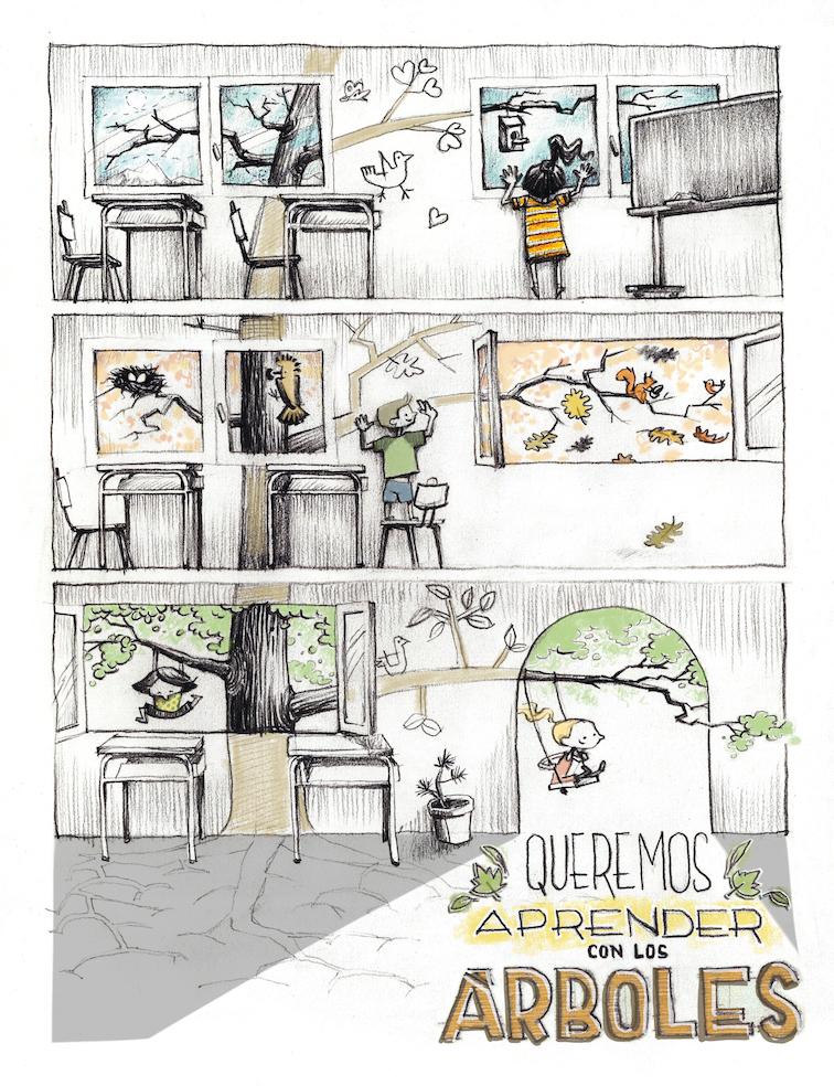 """Dibuix que s'edità en format postal, """"Queremos aprender con los árboles"""""""