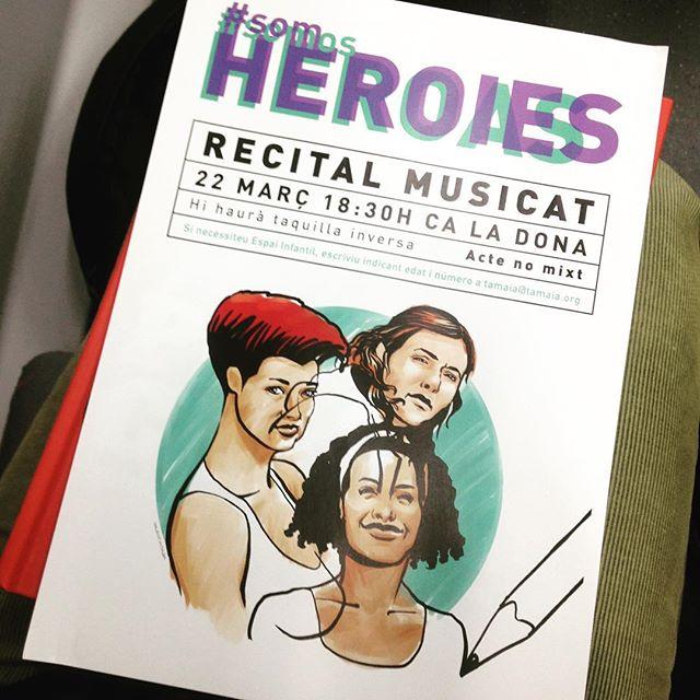Cartell del recital musicat associat al taller d'escriptura creativa realitzat per Tamaia gràcies a la campanya #SomHeroies