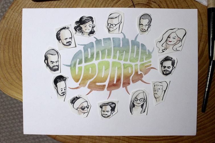 Primer esbós de cadascun dels membres de l'equip del projecte Cosmolocalism i de la caligrafia creativa