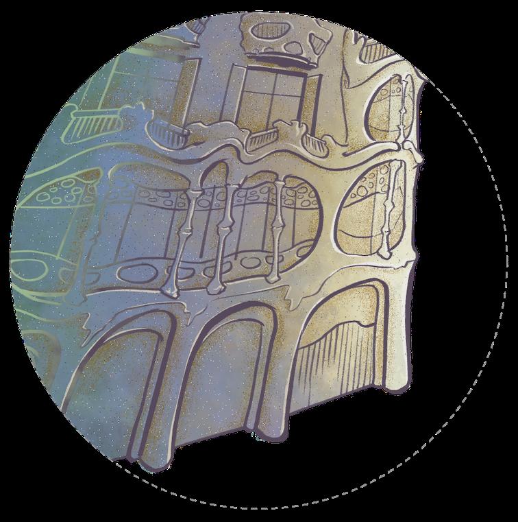 Detall de la il·lustració de la casa Batlló, al Passeig de Gràcia 43