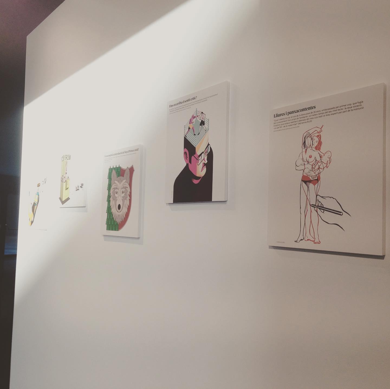 """Làmina de l'article """"Lliures i panxacontentes"""" dins l'exposició """"Gràfica incòmoda"""""""