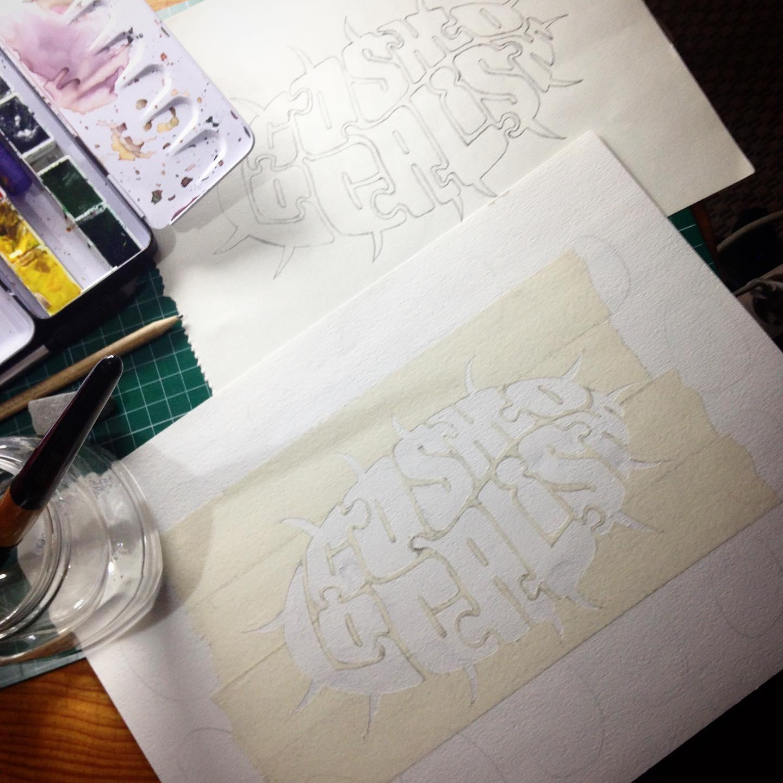 Esbós i preparació de la plantilla per al colorejat de les lletres de la caligrafia