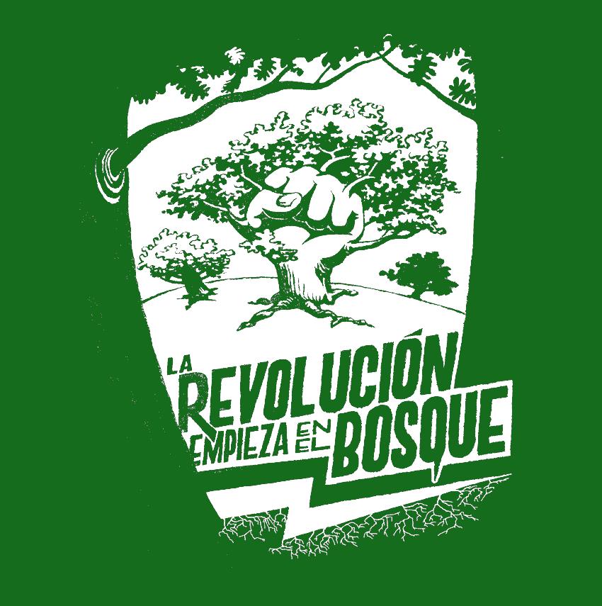 """Dibuix per a una de les samarretes del projecte Think in trees, amb el lema """"La revolución empieza en el bosque"""""""