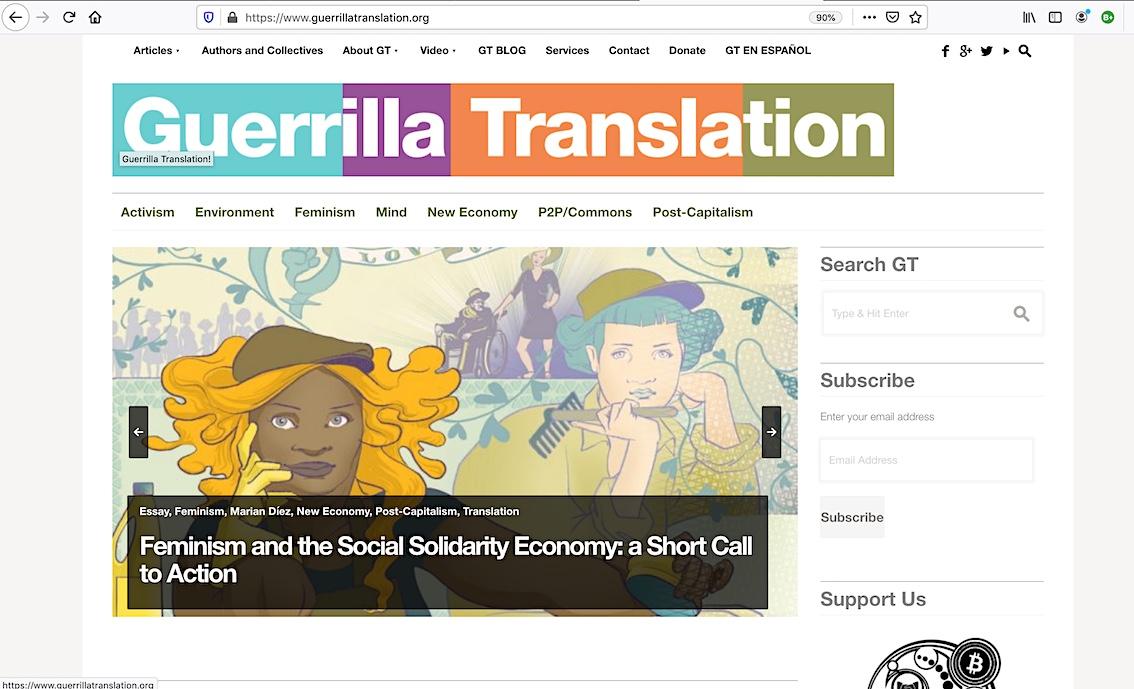 Il·lustració de capçalera d'un dels articles traduïts pel col·lectiu Guerrilla Translation, al carrussel de portada del seu web