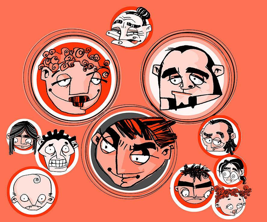 Dibuix de personatges per a capçalera de reportatge a la revista Estris