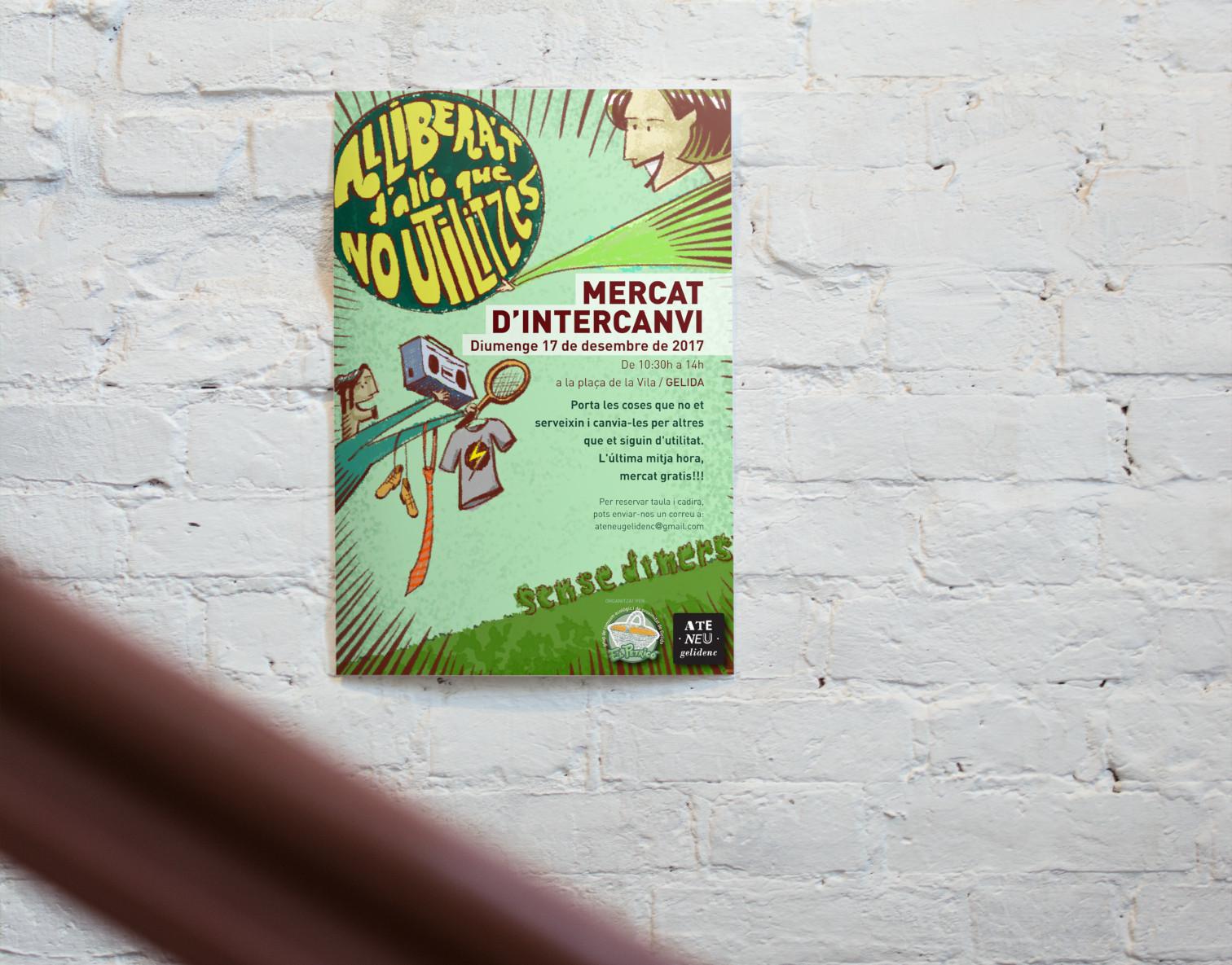Cartell elaborat per al Mercat d'intercanvi organitzat el 2017 conjuntament pel grup de consum Petricó i l'Ateneu Gelidenc